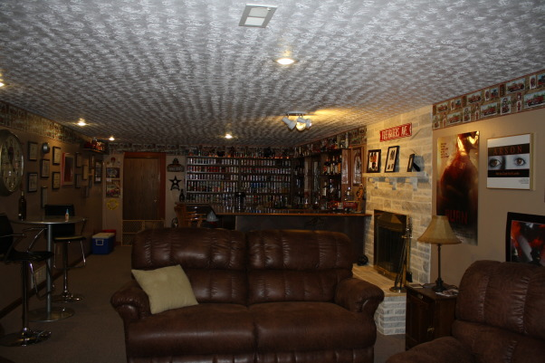 Fire Fighters Man Cave, A 14' x 40' finished area that I have made into my firefighters Man Cave for entertaining guest. , Plenty of room for having friends over., Basements Design