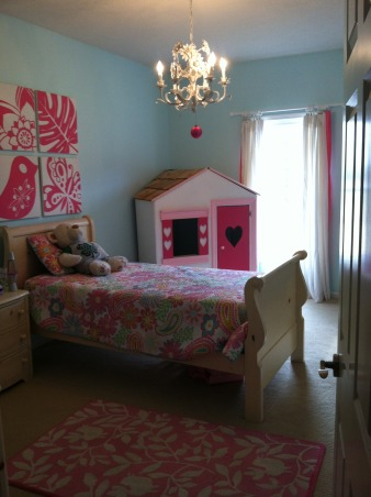 My daughters room :), My little girls room.  Loved the way it turned out!  Ligh turquoise walls with pottery barn bright pink accents., I like my daughters room more than my own! Not fair!!  :), Girls' Rooms Design