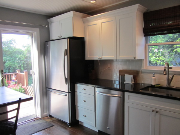 White  Classic Kitchen on a $9500 budget!, Our kitchen needed an update - our cabinets were scratched, appliances breaking down, sink leaking, formica countertops! and the floor was cracked.  We wanted to do it all ourselves and on a budget of $9500 - we came in at $9800 (not bad - and we learned a lot!), AFTER - we kept the same layout because it worked and we wanted to do this economically , Kitchens Design