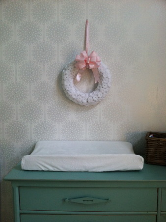Scout's Nursery, A Collection of Reimagined Thrift Store Finds and the Generosity of Great Friends + Family., Sweet Little Wreath = A great gift from a great friend. An Etsy find, I do believe. Wallpaper = Disney Signature Collection.  , Nurseries Design