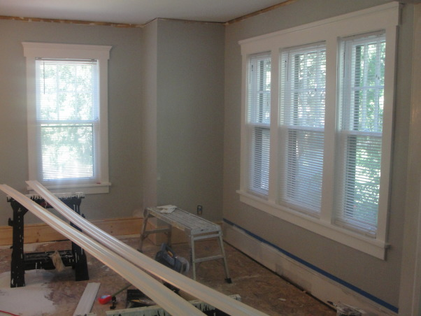 A Dining room with brighter days ahead., An upgrade from a tired dining room yet still a work in progress., After painting this area with 3 different colors finally settled on this. Now to cutting and painting crown molding...another lengthy process but one that has a greater visual reward., Dining Rooms Design
