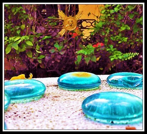 TroPICS., Pictures of my tropical garden in Florida., Blue glass on pedestal with cross in the background   , Gardens Design