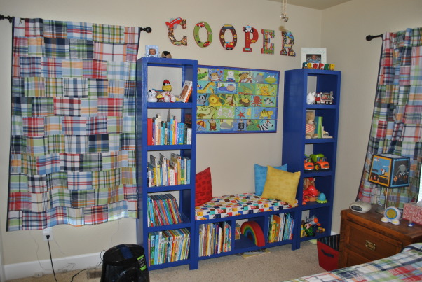 Toddler ABC/Car room, Toddler room with an alphabet and vehicle theme., Bookshelf we made for his room, Boys' Rooms Design