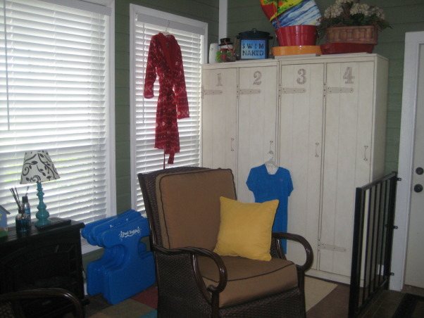 "My Stay-cation!!!!, This is where I want to spend all of my time.  It is my own little paradise!!!, Kids lockers in my ""color splash"" room!  This is where I keep their swimming suits, towels, and sun screen!!!.... and a few other things that my grandkids leave behind!!!  , Pools Design"