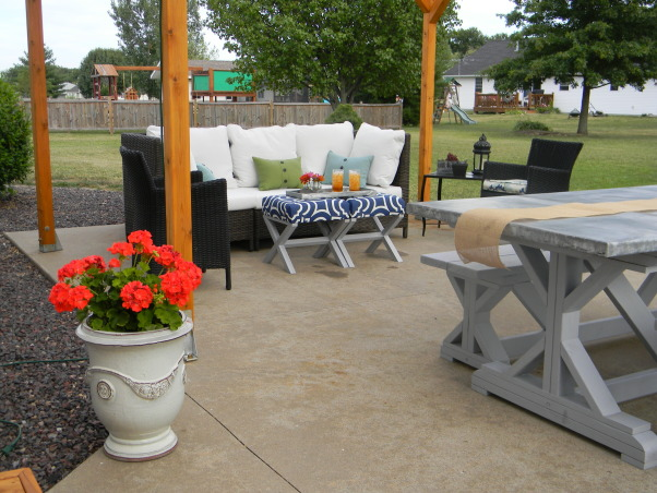 The Ultimate Honey Do: Pergola and Furnishings, Pergola with dining and entertaining space and custom touches built by my husband., View of the sitting area and the corner of the table. , Patios & Decks Design