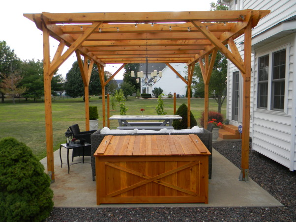 The Ultimate Honey Do: Pergola and Furnishings, Pergola with dining and entertaining space and custom touches built by my husband., Front view of the cedar box. , Patios & Decks Design