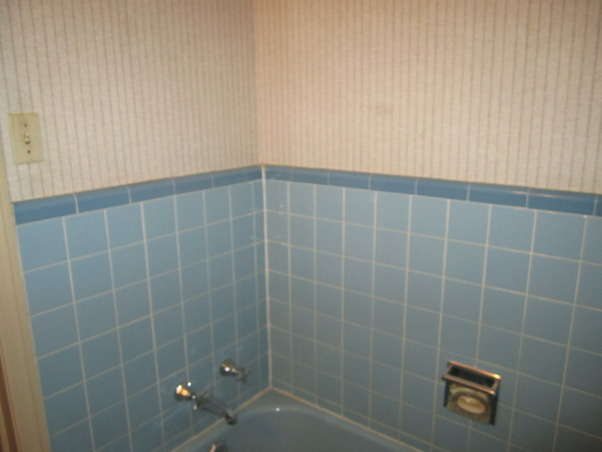 Small Bath remodel, From 50's to Modern. I took a 5 x 7 bathroom in powder blue tile to an updated modern space. Adding a shower to the bath and much needed storage., The bath tub in original 50's blue no shower, Bathrooms Design