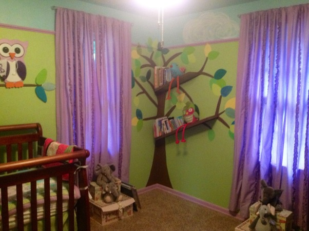 Whimsical elephant and owl nursery., Blue skies and green walls trimmed in purple with elephants and owls and a tree bookshelf., Tree book shelf., Nurseries Design