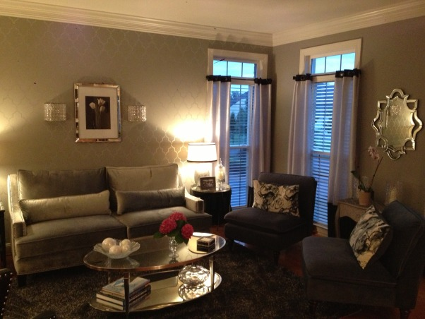 My 50 shades of gray living room, This room is a total 180 from the French Country room it was before.  I think my favorite part is the stenciled wall I did.  It was a true labor of love., another view of the room          , Living Rooms Design