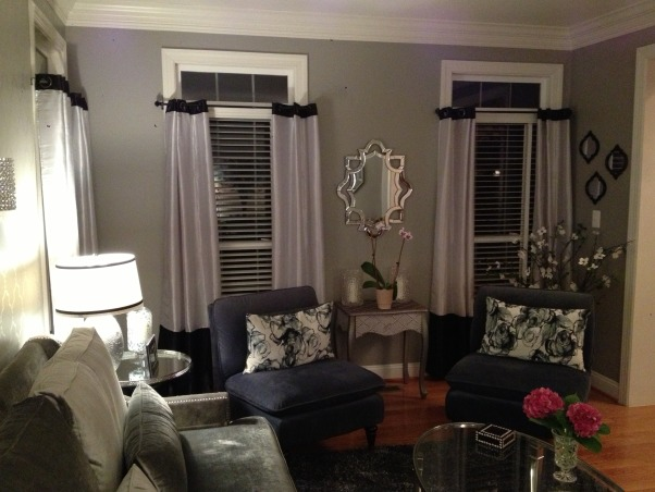 My 50 shades of gray living room, This room is a total 180 from the French Country room it was before.  I think my favorite part is the stenciled wall I did.  It was a true labor of love., Living Rooms Design