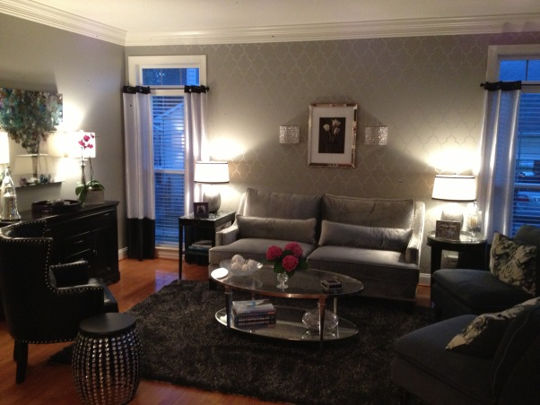 My 50 shades of gray living room, This room is a total 180 from the French Country room it was before.  I think my favorite part is the stenciled wall I did.  It was a true labor of love., My 50 shades of gray living room      , Living Rooms Design