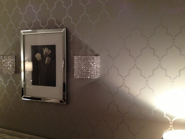 My 50 shades of gray living room, This room is a total 180 from the French Country room it was before.  I think my favorite part is the stenciled wall I did.  It was a true labor of love., a close up of the stenciled wall    , Living Rooms Design