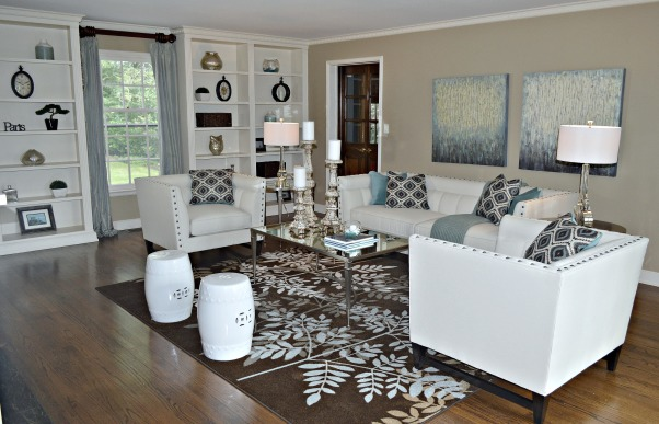 Transitional Living Room, The living room is transitional with a coastal theme. We used mercury glass accessories to give the room a little bling but still maintain a comfy look and feel. , Living Rooms Design