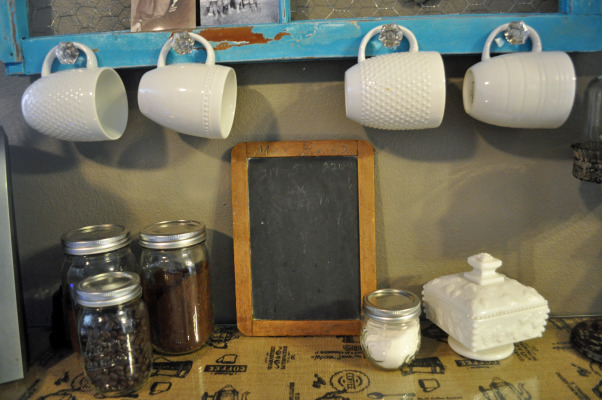 DIY Coffee Bar, Using an antique window frame and counter height table, my husband and I created an adorable shabby chic coffee bar.  It is the perfect place for our Keurig, K-Cups, coffee mugs, etc.  , Kitchens Design