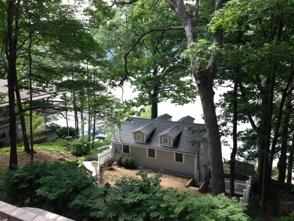 Candlewood Lake waterfront, Vintage 1900 Classic Lake House., This is the view from the driveway pad. Lots of stairs to the house.(53) and then an additional 20 plus to the lake. Quite the workout!!!!!, Other Spaces Design