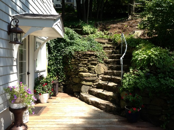 Candlewood Lake waterfront, Vintage 1900 Classic Lake House., Old stone steps leading to side entrance of the vintage lake house, circa 1900. , Other Spaces Design