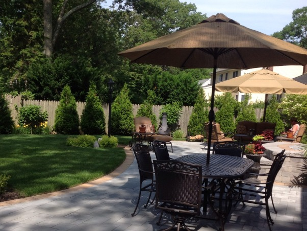 Our backyard, Cambridge bluestone paver large patio with living/dining room spaces.  Professionally landscaped, Outdoor patio   , Patios & Decks Design