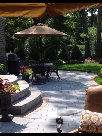 Our backyard, Cambridge bluestone paver large patio with living/dining room spaces.  Professionally landscaped, Grand stairs   , Patios & Decks Design