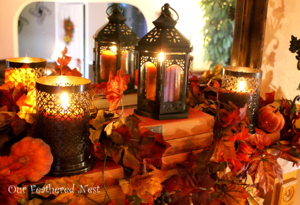 Fall Decor 2013, Its beginning to look a lot like Fall around my home... I'm just starting to dig into those decor boxes and bring out some of my favorite treasures! :), A section of our mantle decorated for fall   , Holidays Design