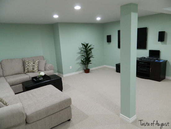 Dark Basement Turned Bright Family Room, A dark and unfinished basement fully renovated into a large family room space. Via: http://tasteofaugust.blogspot.ca/2012/09/basement-reno-reveal.html, Via: http://tasteofaugust.blogspot.ca/2012/09/basement-reno-reveal.html, Basements Design