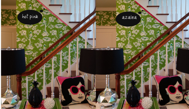 "Colorful Mudroom Entryway, Walking into this fun and colorful mudroom entryway, you can't help but get a smile on your face when you see the Kelly Green Meg Braff ""Up in a Tree"" Chinoiserie wallpaper.  I wanted to think outside of the box for the mudroom.  Who says the space has to be typical?  I decided to have fun and go over the top.  , eventually, I am going to add grosgrain ribbon nailhead trim in the mudroom.  this was a mock up showing examples of the colors of ribbon that I was considering for the project   , Other Spaces Design"