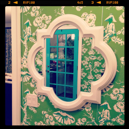 "Colorful Mudroom Entryway, Walking into this fun and colorful mudroom entryway, you can't help but get a smile on your face when you see the Kelly Green Meg Braff ""Up in a Tree"" Chinoiserie wallpaper.  I wanted to think outside of the box for the mudroom.  Who says the space has to be typical?  I decided to have fun and go over the top.  , mirror on mudroom wall is from home goods against meg braff chinoiserie wallpaper.  entryway and foyer just off of garage entrance leading into the kitchen , Other Spaces Design"