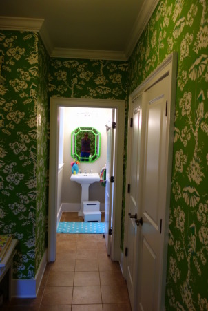 "Colorful Mudroom Entryway, Walking into this fun and colorful mudroom entryway, you can't help but get a smile on your face when you see the Kelly Green Meg Braff ""Up in a Tree"" Chinoiserie wallpaper.  I wanted to think outside of the box for the mudroom.  Who says the space has to be typical?  I decided to have fun and go over the top.  , hallway in mudroom leading to mudroom bathroom , Other Spaces Design"