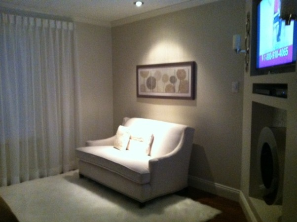 Transitional Guest Bedroom, My Transitional Styled Guest Bedroom, Sit Area of our master bedroom, This love seat was found a a thrift store for a measly 40.00 and refurbished in a beautiful linen fabric and embellished with brushed nickel nail trim., Bedrooms Design