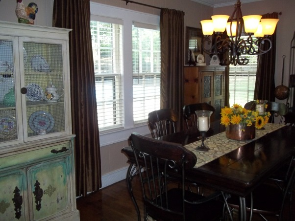 Our French country dining room, Our dining room is not large , but it is filled with wonderful heirlooms from my great grandmother, grandmother ,and my parents. These are the things that connect us to family. , Dining Rooms Design