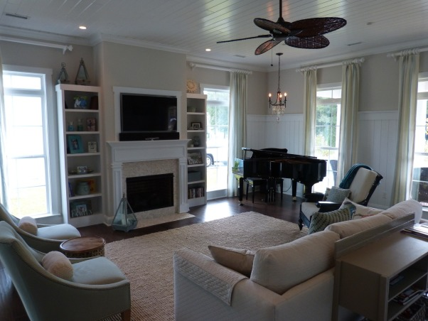 family room beach coastal, custom bookcases flanking the white mini-stone fireplace, Living Rooms Design