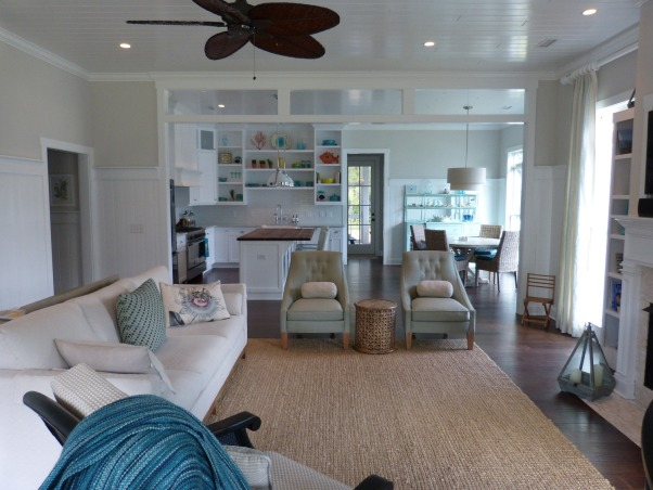 family room beach coastal, transom separating family room from dining and kitchen, Living Rooms Design