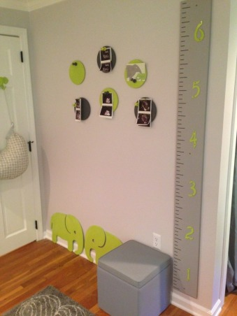 Kellan's Gray and Lime Green Elephant Themed Nursery, This is the first nursery designed and created by Nurseries By Jay and is for our first child Kellan who is due in October.  We loved the idea of something less traditional using gray and lime green and using elephants as a theme.  The toy box, growth chart, both wall paintings, and shelves were handmade and painted by Jay.  The elephant blowing bubbles wall painting has a built in light for a night light.  We love the room from his alphabet wall with his name, to his toy box., Nurseries Design