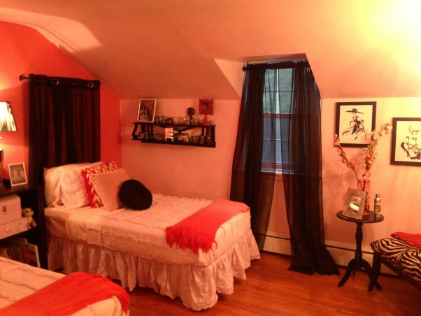 Boyfriend's other daughter's bedroom, Room to grow in for a 9 year old girl. First I did the 13 year old room and now the 9 year olds. I sanded, primed and painted all of the furniture myself and changed the hardware to crystal balls. She wanted pink that's the rooms color with coral as an accent.  Money was tight so we bought 2 bed frames (she had bunk beds that swallowed the room before) and to key costs down I used curtains as the headboard. She loves animals so there are some accents in there that are cats, giraffes etc. she loved the space when she saw it. More grown-up than she had but not too mature so that she doesn't enjoy it., Girls' Rooms Design