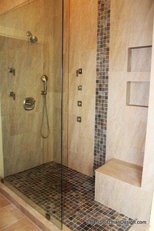 Tranquil Master Bathroom, We remodeled our master bathroom recently.  The small shower was enlarged, the corner whirlpool tub was replaced with a rectangular tub, new tile was installed, the lighting was upgraded, and the room was painted a pale gray.  We love our new bathroom!  It is so much more comfortable, elegant, and functional! , The larger shower allowed room for a bench, multiple shower heads, and body sprays.     , Bathrooms Design