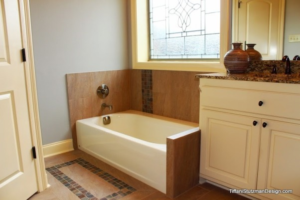 Tranquil Master Bathroom, We remodeled our master bathroom recently.  The small shower was enlarged, the corner whirlpool tub was replaced with a rectangular tub, new tile was installed, the lighting was upgraded, and the room was painted a pale gray.  We love our new bathroom!  It is so much more comfortable, elegant, and functional! , The corner whirlpool tub was removed and replaced with a smaller, rectangular tub.  This really opened up the space!       , Bathrooms Design