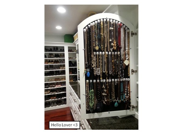 Functional Closet, Functionally Organized Closet, Jewelry storage in vanity (necklaces needed proper home), Closets Design