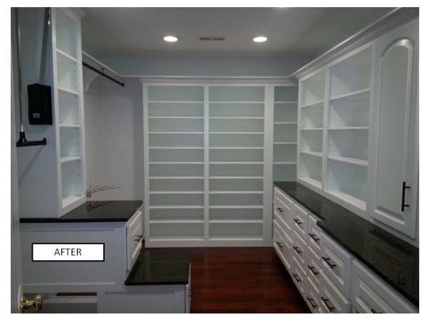 Functional Closet, Functionally Organized Closet, After: ample hanging space (double rods, long hanging, extra hanging for pants, shoe storage, shelves and drawers, Closets Design