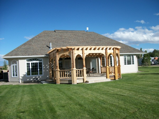 Our Pergola, Our ipe deck on the west side of our home was too hot to enjoy.  A pergola was the answer.  Now we have a beautiful deck, fire pit, and pergola made from cedar to enjoy even on summer afternoons., Backyard beauty, Patios & Decks Design