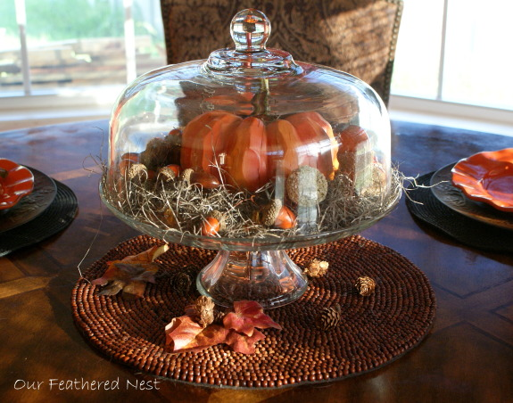 Autumn Look for my Breakfast Nook! =), A few photos from my breakfast nook decorated just for looks..., I added a wooden pumpkin, moss, fall leaves, acorns and tiny pumpkins to this glass cake plate for a center piece..., Holidays Design