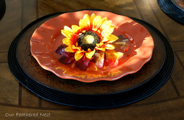 Autumn Look for my Breakfast Nook! =), A few photos from my breakfast nook decorated just for looks..., I added a sunflower and some fall leaves to each plate..., Holidays Design