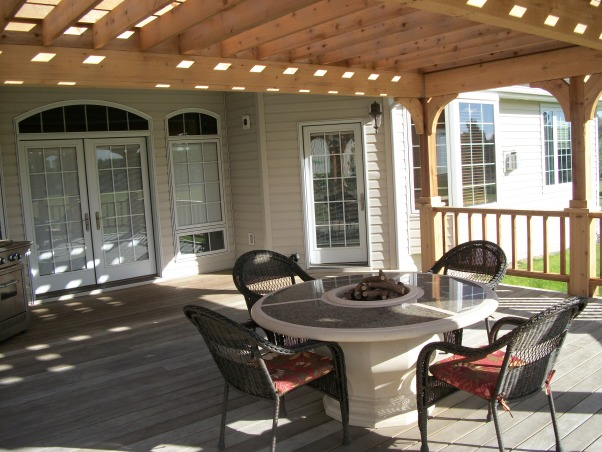 Our Pergola, Our ipe deck on the west side of our home was too hot to enjoy.  A pergola was the answer.  Now we have a beautiful deck, fire pit, and pergola made from cedar to enjoy even on summer afternoons., Outdoor dining on a warm summer day, Patios & Decks Design