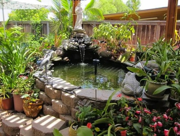 My Parents' Paradise, you name it, my dad built it! fountains, thatch umbrellas, putting green, deck, treehouse, and so on... , pond    , Yards Design