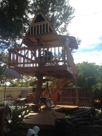 My Parents' Paradise, you name it, my dad built it! fountains, thatch umbrellas, putting green, deck, treehouse, and so on... , two-story treehouse. my nieces are spoiled rotten by their grandfather!     , Yards Design