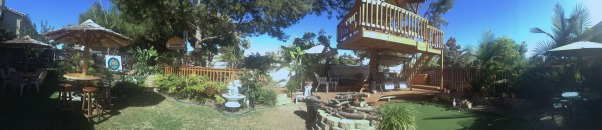 My Parents' Paradise, you name it, my dad built it! fountains, thatch umbrellas, putting green, deck, treehouse, and so on... , a panoramic view    , Yards Design