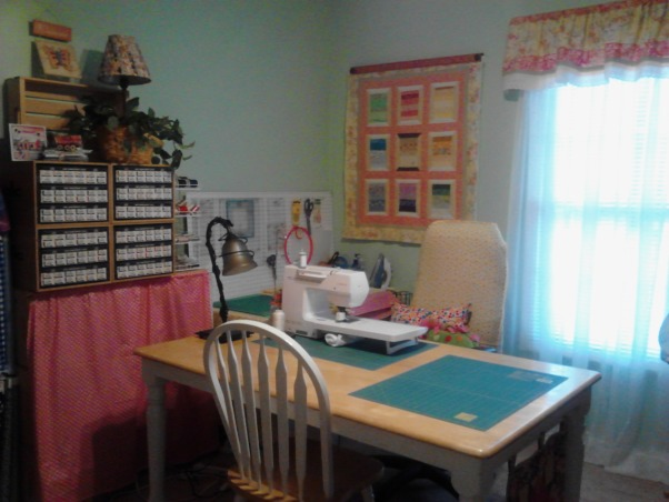 Sewing/Craft Room, My hubby and I are now Empty Nesters. One of the vacant rooms in our home I created a sewing/craft room. It is so funny because my Hubby will ask permission before he crosses the threshold., My new sewing/craft space. I have extra seating for friends. , Other Spaces Design