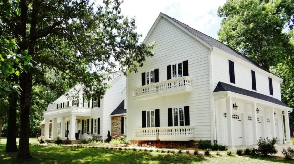 Traditional White Stone Columns Ballisters Porches Pool Exterior Home Design, This house used to have a cream siding and green roof.  The big part with 3 car garage was an add on to the existing house.  I wanted a timeless exterior and I think we achieved that., Home Exterior Design