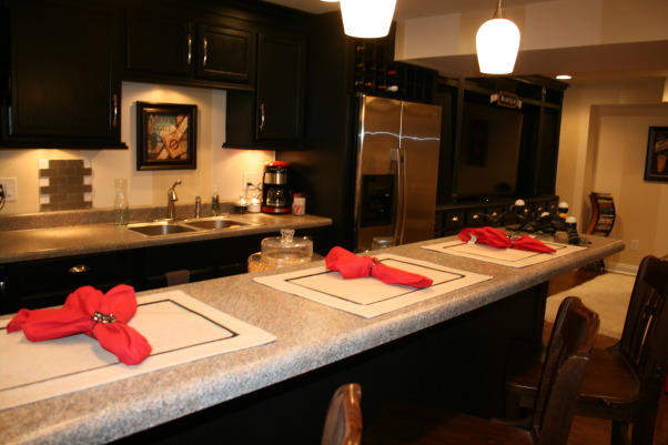 Moving to the basement!, Kitchenette, Home theater, pool/ping pong, Master Bed & Bath, finally! a sink!!!, Basements Design