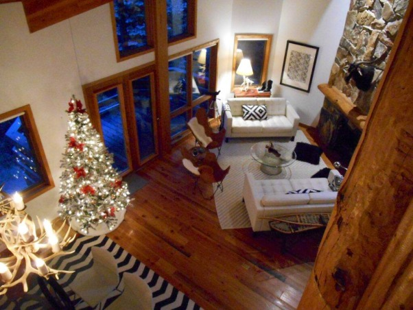 Park City , View from loft to common area/living room., Living Rooms Design