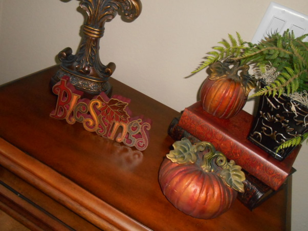 Thanksgiving time around our home :), Our entryway, dining room and living room decorated for the season :), Top of bombe chest , Holidays Design