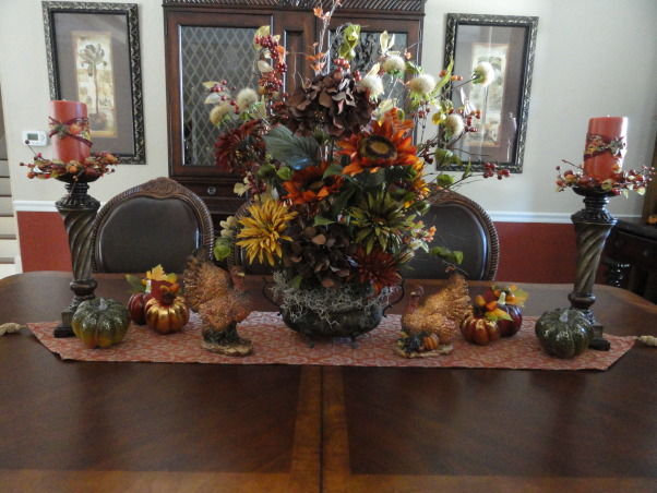 Thanksgiving time around our home :), Our entryway, dining room and living room decorated for the season :), Our Thanksgiving table , Holidays Design